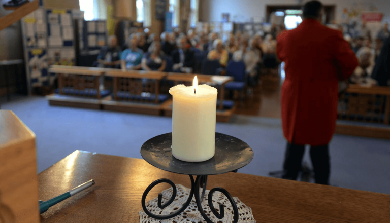 peace candle at Worthing Mental Heath Awareness Week